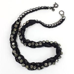 NWOT! J. Crew Necklace Ribbon + Rhinestones Black